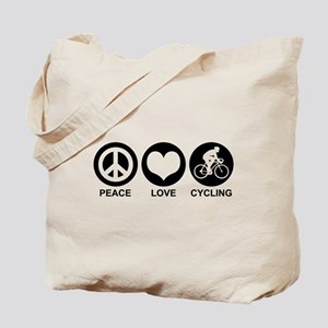 Peace Love Cycling (Male) Tote Bag