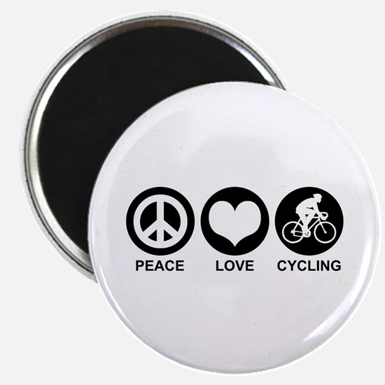 Peace Love Cycling (Male) Magnet