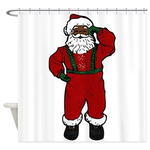 Black Santa Claus Shower Curtains