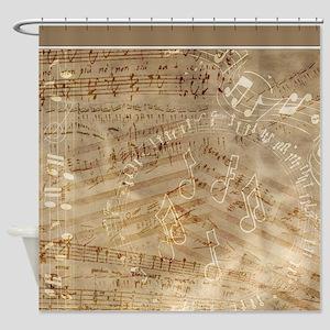Scattered Music Notes and Lyrics on Antiqued Vinta