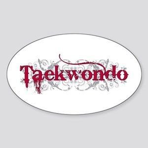 Taekwondo Red Oval Sticker