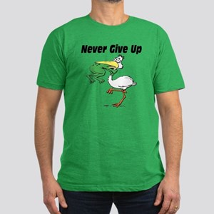 Never Give Up Stork and Frog Men's Fitted T-Shirt