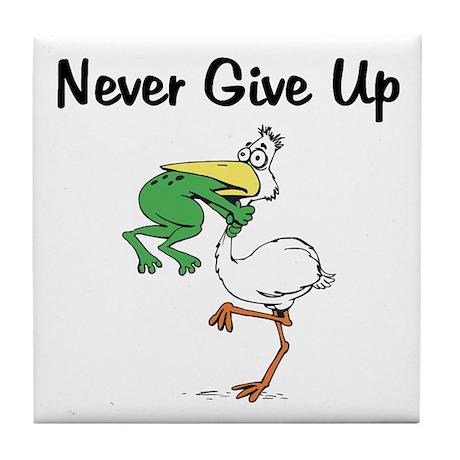 Never Give Up Stork and Frog Tile Coaster