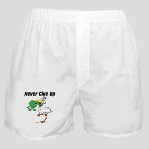 Never Give Up Stork and Frog Boxer Shorts