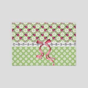 Adorable Pink Ladybugs 4' x 6' Rug