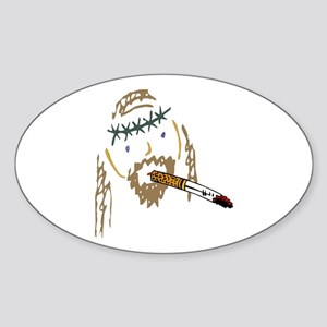Jesus Smoking Christian Crack Oval Sticker