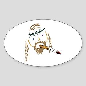 Jesus Smoking Christian Crack Oval Sticker
