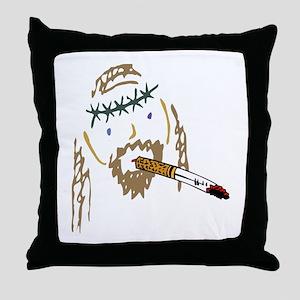 Jesus Smoking Christian Crack Throw Pillow