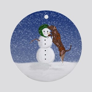 Catahoula Dog and Snowman Ornament (Round)