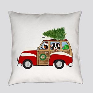 Vintage Christmas Woody Wagon Everyday Pillow