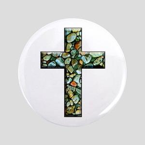 "Jesus Rocks Mosaic Cross 3.5"" Button"
