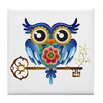 Owl on Skeleton Key Tile Coaster
