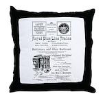 B&O Royal Blue LineTrains Throw Pillow