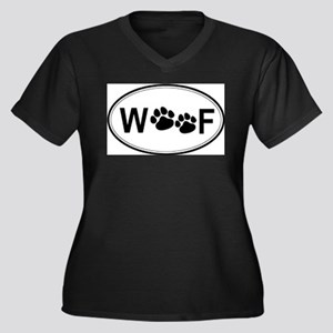 Woof (Front only) Women's Plus Size V-Neck Dark T-