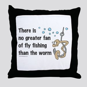 Funny Fly Fishing Throw Pillow