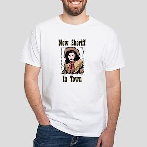 """""""New Sheriff"""" White T-Shirt"""