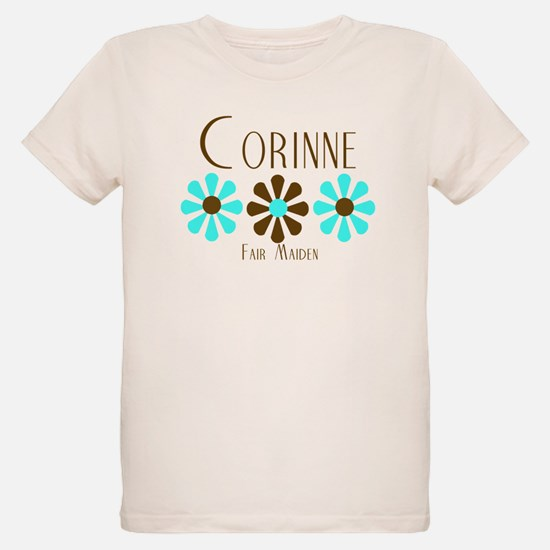 Corinne - Blue/Brown Flowers T-Shirt