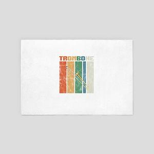 Retro Trombone Player Instrument Music 4' x 6' Rug