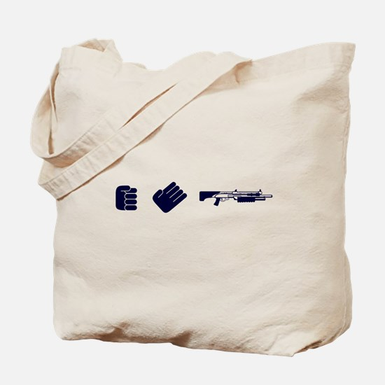 Rock, Paper, Shotgun Tote Bag