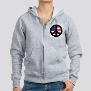 Peace Sign with American Flag Women's Zip Hoodie