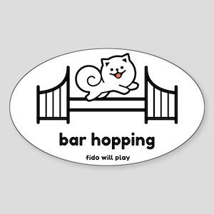 Agility Bar Hopping Pomeranian Sticker