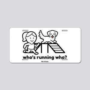 Agility Who's Running W Aluminum License Plate