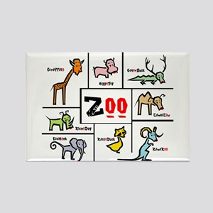 Zoo Grid Rectangle Magnet