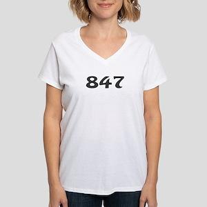 847 Area Code Women's V-Neck T-Shirt