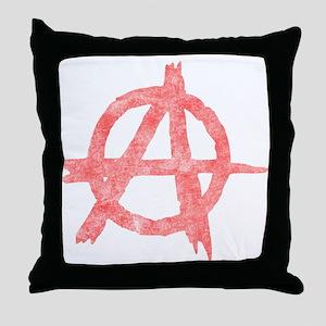 Vintage Anarachy Symbol Throw Pillow