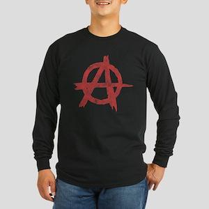 Vintage Anarachy Symbol Long Sleeve Dark T-Shirt