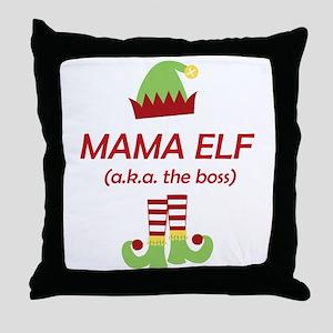 Mama Elf Christmas Funny Gift for Mom Throw Pillow