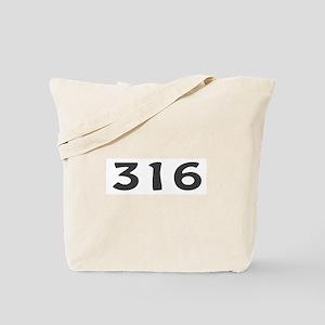 316 Area Code Tote Bag