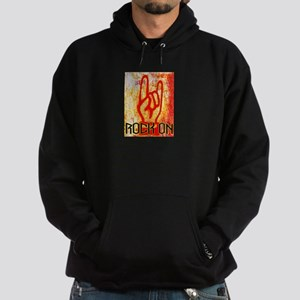 ROCK ON - RED Hoodie (dark)