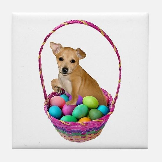 Puppy Easter Basket Tile Coaster