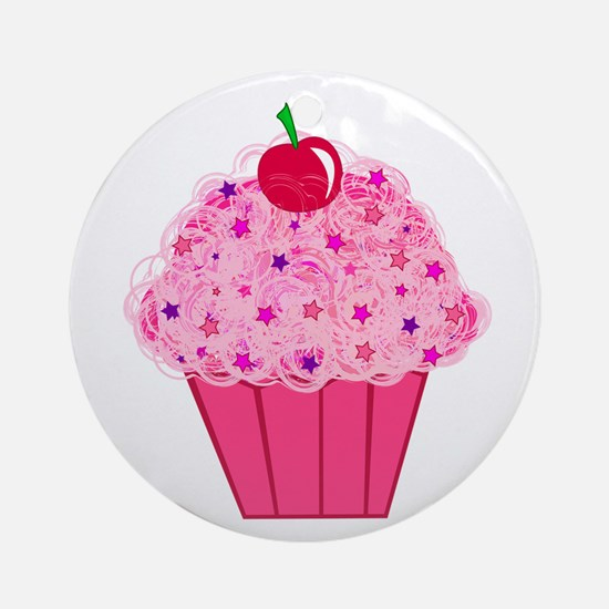 Pink Confetti Cupcake Ornament (Round)