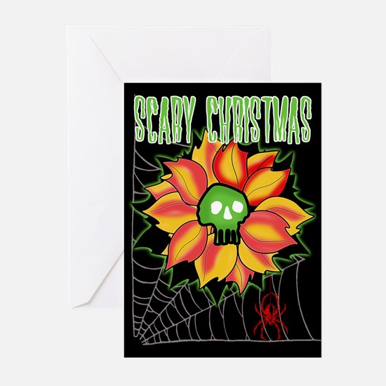 Skull & Candy Canes Greeting Cards (Pk of 10)