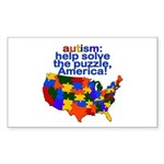 Autism USA Rectangle Sticker 50 pk)