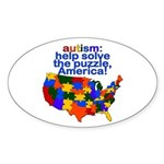 Autism USA Oval Sticker (10 pk)