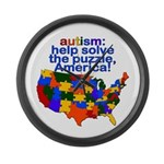 Autism USA Large Wall Clock