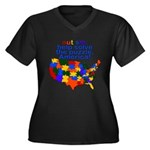 Autism USA Women's Plus Size V-Neck Dark T-Shirt