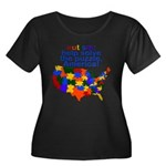 Autism USA Women's Plus Size Scoop Neck Dark T-Shi