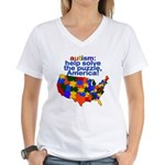 Autism USA Women's V-Neck T-Shirt