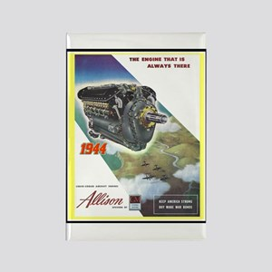 """WWII Allison Engines"" Rectangle Magnet"