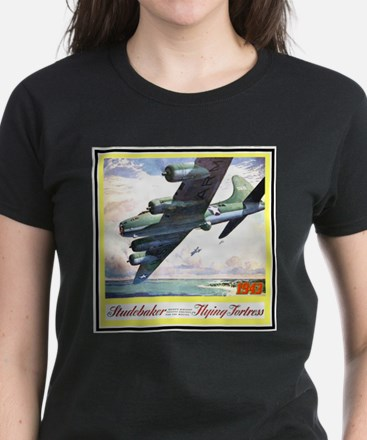 """Flying Fortress Engines Ad"" Women's Dark T-Shirt"