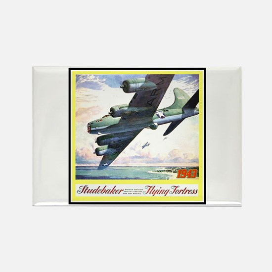 """""""Flying Fortress Engines Ad"""" Rectangle Magnet"""