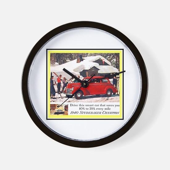 """1940 Studebaker Ad"" Wall Clock"
