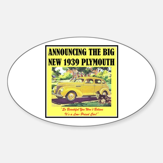 """""""1939 Plymouth Ad"""" Oval Decal"""
