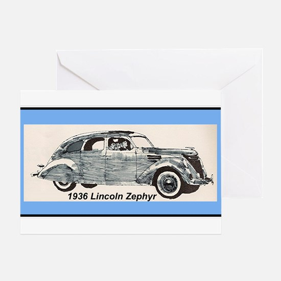 """""""1936 Lincoln Zephyr"""" Greeting Card"""
