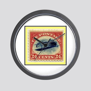 """""""1918 Inverted Jenny Stamp"""" Wall Clock"""