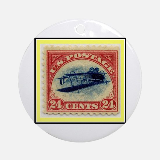 """1918 Inverted Jenny Stamp"" Ornament (Round)"